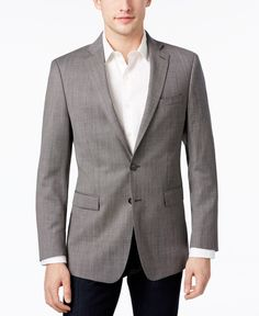 Calvin Klein Men's Slim-Fit Black/White Micro-Check Sport Coat