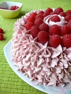Lemon Cake with Raspberry Curd filling and Raspberry/Lemon Swiss Meringue  Buttercream Frosting.