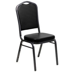 Flash Furniture Hercules Series Crown Back Stacking Banquet Chair with Black Vinyl and 2.5'' Thick Seat - Silver Vein Frame FD-C01-SILVERVEIN-BK-VY-GG