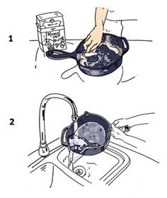 How to Clean a Seasoned Cast Iron Pan. The ones I got for Christmas aren't seasoned yet, but this will come in handy one day!
