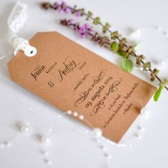 Tag handmade wedding invitation