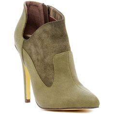 Michael Antonio June Bootie ($30) ❤ liked on Polyvore featuring shoes, boots, ankle booties, ankle boots, olive, pointed toe high heels stilettos, high heel booties, side zip boots, pointed toe stilettos and stiletto ankle boots