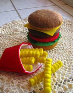 felt food cheeseburger and fries.