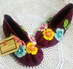 Crochet thread slippers by Amber's Creations ♡
