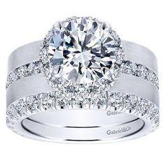 18k White Gold Diamond Halo Engagement Ring | Gabriel & Co NY | ER12341R6W83JJ