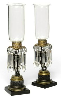 A PAIR OF WILLIAM IV BRONZE AND PARCEL-GILT LUSTRE CANDLE-LAMPS -  CIRCA 1830
