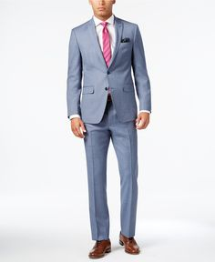Tallia Men's Slim-Fit Light Blue Sharkskin Suit - Suits & Suit Separates - Men - Macy's