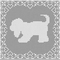 Filet Crochet Patterns - Dogs - BEAGLE DOG FILET CROCHET PATTERN Doily Afghan Picture