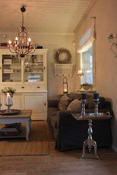 Chandeliers, shelves and side tables.