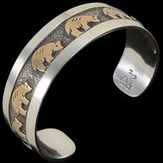 Silver Gold Bear Bracelet