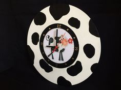 Cow Black and White Decoupage Wooden Clock Hand by CLVLArtsBrazil