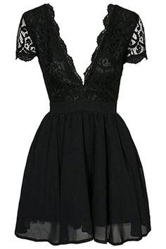 Black lace short sleeved dress
