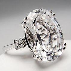 Natural Rock Crystal Quartz & Diamond Cocktail Ring Solid 14K White Gold
