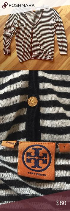 Tory Burch striped cardigan Like new Tory Burch navy & white light weight cardigan. No piling or holes. Beautiful condition. Tory Burch Sweaters Cardigans