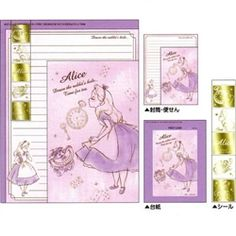 Disney Japan Alice in Wonderland Purple Letter Set with Seal Stickers