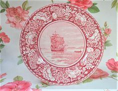The Mayflower in Plymouth Harbour Pink Transfer Plate Vintage