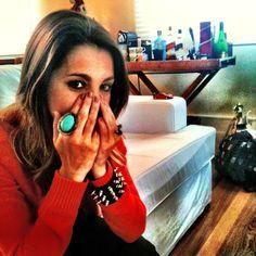 Anél turquesa e bracelete spike @julianamanzini #accessories #ring #bracelet #fashionrules - @camifashiontips- #webstagram
