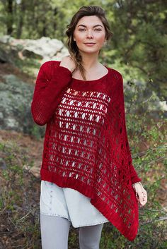 This unique cross between a sweater and a poncho showcases a beautiful lace stitch that is fun to make and easy to wear.