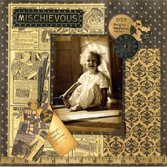 Mischievous, 1937...lovely vintage inspired patterned papers coordinate beautifully with a sepia toned photo.