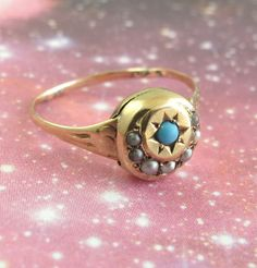 Seed Pearl Crescent Moon and Turquoise Victorian Ring: Erica Weiner