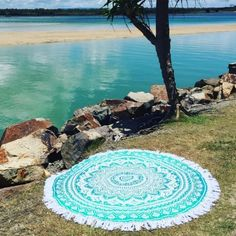 White & Sea Green Ombre Round Beach Towel, Mandala Roundie