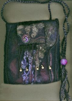 Starry Night wet felted bag by ThistleWoolworks on Etsy