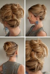 This is the soft, sexy updo you could wear to the office and get away with it. With anything, really. Love it :-)