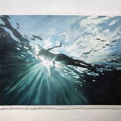 Marcos Beccari (@marcosbeccari) в Instagram: «Quarta-feira, #aquarela #watercolor #underwater #submerge #art #paint #painting #draw #drawing #light #girls #wave #sea