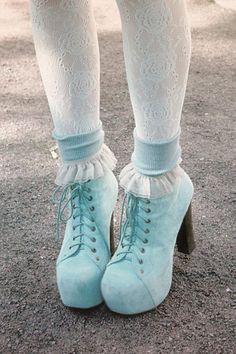 blue shoes with white lace tights Pastel Fashion, Kawaii Fashion, Lolita Fashion, Cute Fashion, Fashion Shoes, Romantic Fashion, Dress Fashion, Sock Shoes, Cute Shoes