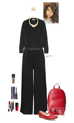 """red and black (Aoife)"" by shulabond ❤ liked on Polyvore featuring Gucci, Topshop, Vince, Valentino, But Another Innocent Tale, Chico's, Morra Designs, Kate Spade, Guerlain and NARS Cosmetics"