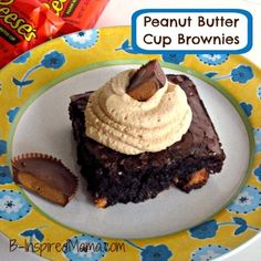 Kids in the Kitchen: Easy Peanut Butter Cup Brownies with Peanut Butter Frosting at B-InspiredMama.com.