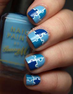 Jigsaw Puzzle Nail Art #jigsaw #puzzle #fingernail #finger #nail #polish #lacquer #paint #manicure #pedicure