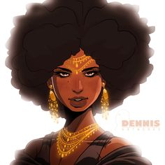 Female Human Merchant Noble Dark Skin Afro Jewelry
