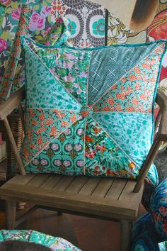 Amy Butler's Violette Fabrics. Pieced pillow with decorative stitching and piping.