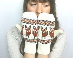 Fox Mittens Fox Mittens in Lambswool Wool Fox Motif Mittens Knitted Mittens Cream Mittens Rust Red Mittens Fox Gloves Woolen Gloves Fairisle