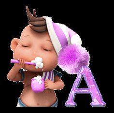 Alfabeto animado de niño lavándose los dientes.