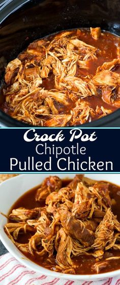 Crock Pot Chipotle Pulled Chicken #slowcooker #chicken #spicy #crockpotrecipes