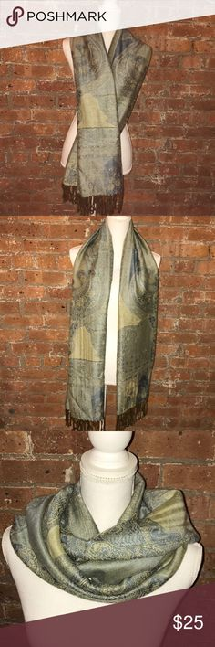 "Soft Printed Silk Pashmina Beautiful light blue and green printed Pashmina. About 67"" long. Material is extremely soft and lightweight.   55% Cashmere Wool  45% Silk Accessories Scarves & Wraps"