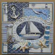 card nautical sailboat anchor shells starfish - Tineke's kaartenhoekje - Maja design Life by the Sea paper pad Beach Scrapbook Layouts, Scrapbooking Layouts, Scrapbook Cards, Fancy Fold Cards, Folded Cards, Card Making Inspiration, Making Ideas, Nautical Cards, Beach Cards