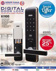 """Digital Door Lock K1100 Adalah Sebuah Kunci Praktis Dan Aman Yang Dapat Diakses Dengan Fingerprint, RFID Card Dan Manual Key, Dapatkan Segera Hanya di Kenari Djaja ...  Nikmati Promonya """"Special Offer"""" Dari Tanggal 11 September - 31 Oktober 2017.  Informasi Hub. : Ibu Tika 0812 8567 7070 ( WA / Telpon / SMS ) 0819 0506 7171 ( Telpon / SMS )  Email : digitalmarketing@kenaridjaja.co.id  [ K E N A R I D J A J A ] PELOPOR PERLENGKAPAN PINTU DAN JENDELA SEJAK TAHUN 1965"""