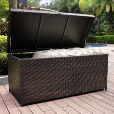The Palm Harbor Resin Wicker Outdoor Storage Bin Fits Cushions Up To Wide Has A Pneumatic Hinge That