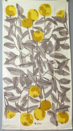 jada111:Vintage Vera Neumann Linen Towel - Yellow Apples Grey Leaves