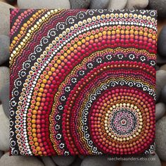 Fire design Aboriginal Dot Art Acrylic Painting on 20 x 20 cm