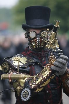 A steampunked reveler at the Wave Gothic festival in Leipzig, Germany.