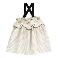 Babe & Tess Striped Ruffle Dress Ecru