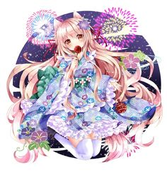 Anime Cat, Anime Kawaii, Manga Anime, Manga Art, Anime Fantasy, Fantasy Girl, Anime Cherry Blossom, Anime School Girl, Anime Girls