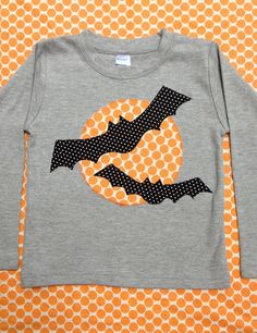 Spooky Bat Boys Halloween Applique Tshirt