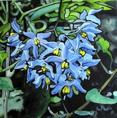 NFAC Nibblefest Flower Painting Oil Canvas Original - Blue Flowers by Sue Flask SOLD