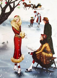 Shop Retro vintage art deco Christmas people postcard created by DoodlesHolidayGifts.