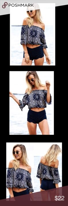 Coming soon! Sexy Off The Shoulder Blouse Gorgeous geometric Navy blue design, this off the shoulder Blouse is so perfect for spring and summer! Wear it with shorts, pants, or over a bathing suit!  bundle to save! Brandy Melville Tops Blouses